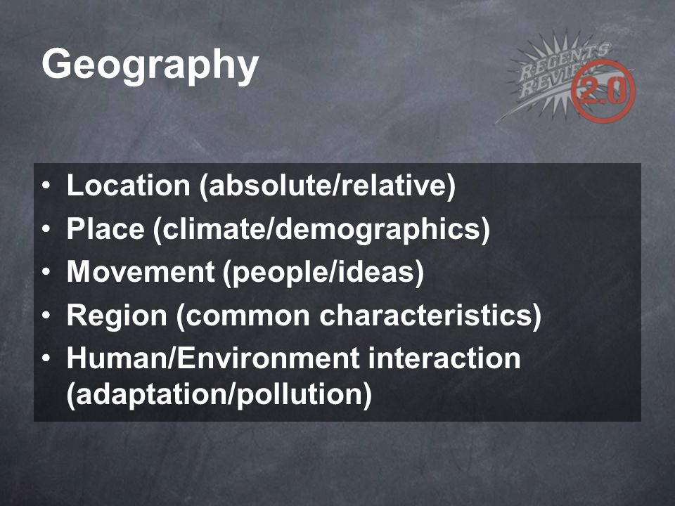 Geography Location (absolute/relative) Place (climate/demographics) Movement (people/ideas) Region (common characteristics) Human/Environment interact