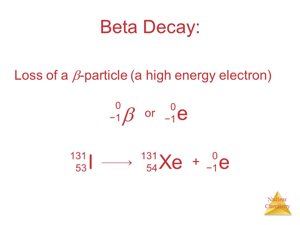 Nuclear Chemistry Beta Decay: Loss of a  -particle (a high energy electron)  0−10−1 e 0−10−1 or I 131 53 Xe 131 54  + e 0−10−1