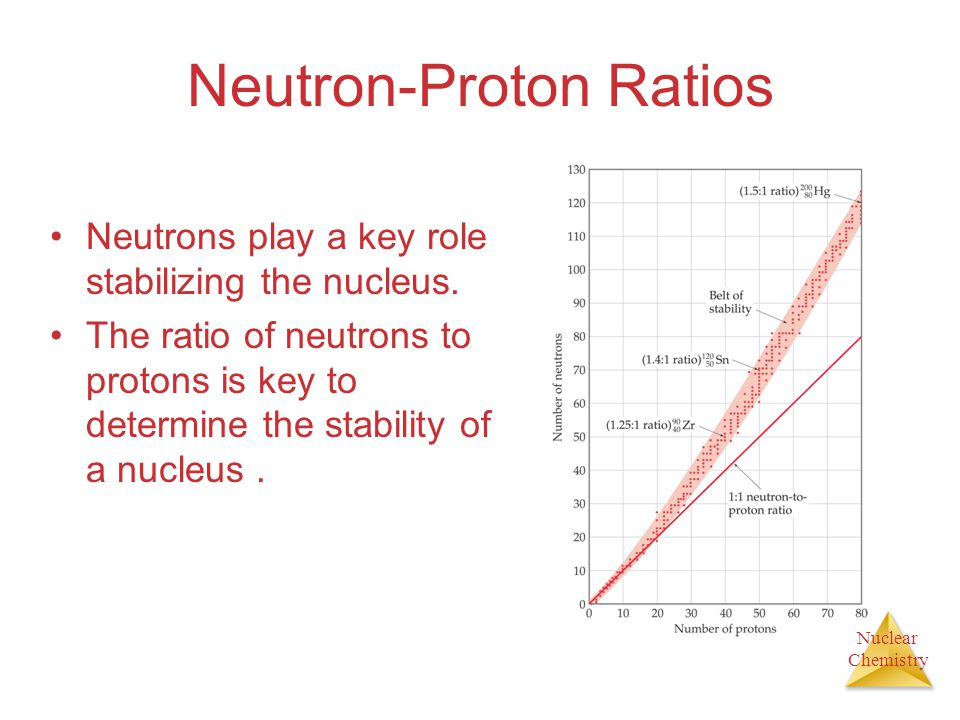 Nuclear Chemistry Neutron-Proton Ratios Neutrons play a key role stabilizing the nucleus. The ratio of neutrons to protons is key to determine the sta