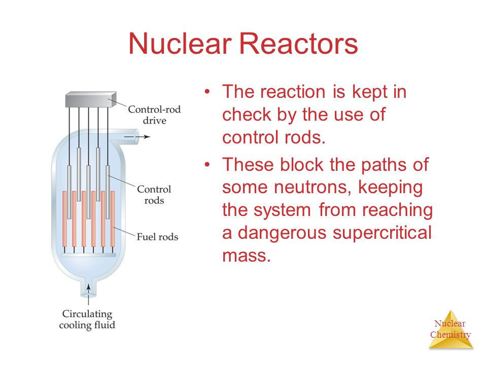 Nuclear Chemistry Nuclear Reactors The reaction is kept in check by the use of control rods. These block the paths of some neutrons, keeping the syste