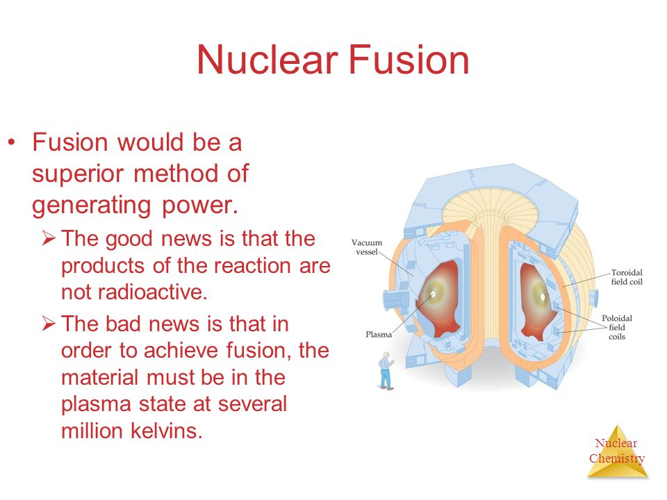 Nuclear Chemistry Nuclear Fusion Fusion would be a superior method of generating power.  The good news is that the products of the reaction are not r