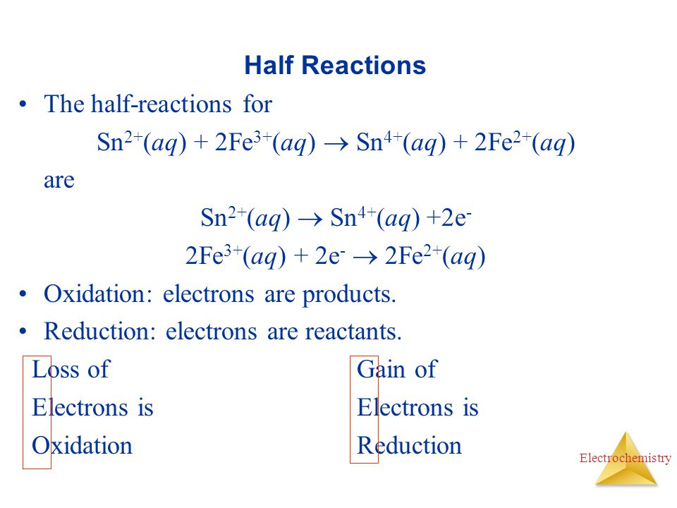 Electrochemistry Half Reactions The half-reactions for Sn 2+ (aq) + 2Fe 3+ (aq)  Sn 4+ (aq) + 2Fe 2+ (aq) are Sn 2+ (aq)  Sn 4+ (aq) +2e - 2Fe 3+ (a