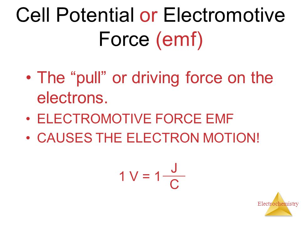 "Electrochemistry Cell Potential or Electromotive Force (emf) The ""pull"" or driving force on the electrons. ELECTROMOTIVE FORCE EMF CAUSES THE ELECTRON"