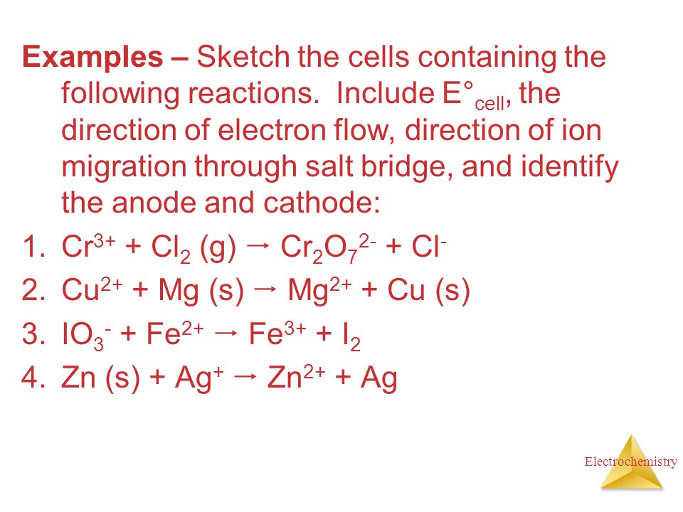 Electrochemistry Examples – Sketch the cells containing the following reactions. Include E° cell, the direction of electron flow, direction of ion mig