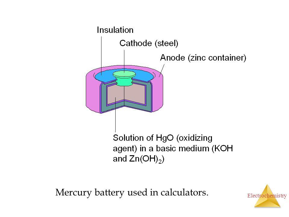 Electrochemistry Mercury battery used in calculators.