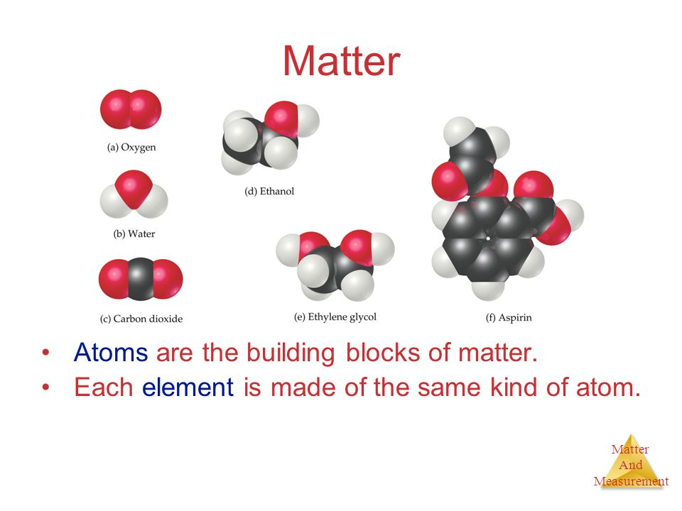 Matter And Measurement Matter Atoms are the building blocks of matter. Each element is made of the same kind of atom.