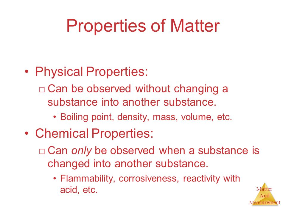 Matter And Measurement To measure the volume of an object If is a regular object measure the dimensions needed and use the formula cube= LxWxH Cylinder =  h r 2 For an irregular object use the water displacement method.
