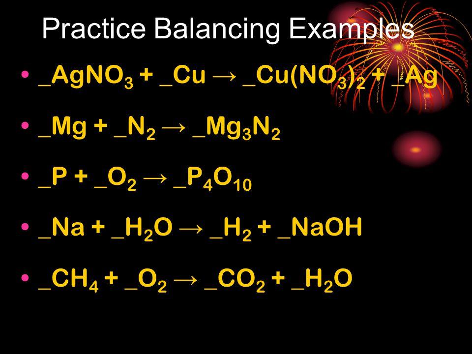 Practice Balancing Examples _AgNO 3 + _Cu → _Cu(NO 3 ) 2 + _Ag _Mg + _N 2 → _Mg 3 N 2 _P + _O 2 → _P 4 O 10 _Na + _H 2 O → _H 2 + _NaOH _CH 4 + _O 2 →