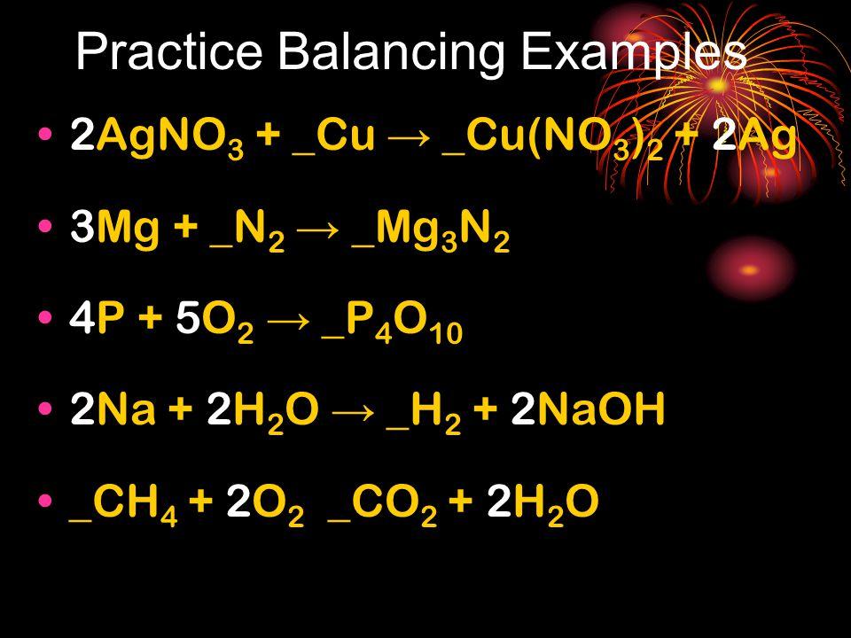 Practice Balancing Examples 2AgNO 3 + _Cu → _Cu(NO 3 ) 2 + 2Ag 3Mg + _N 2 → _Mg 3 N 2 4P + 5O 2 → _P 4 O 10 2Na + 2H 2 O → _H 2 + 2NaOH _CH 4 + 2O 2 _