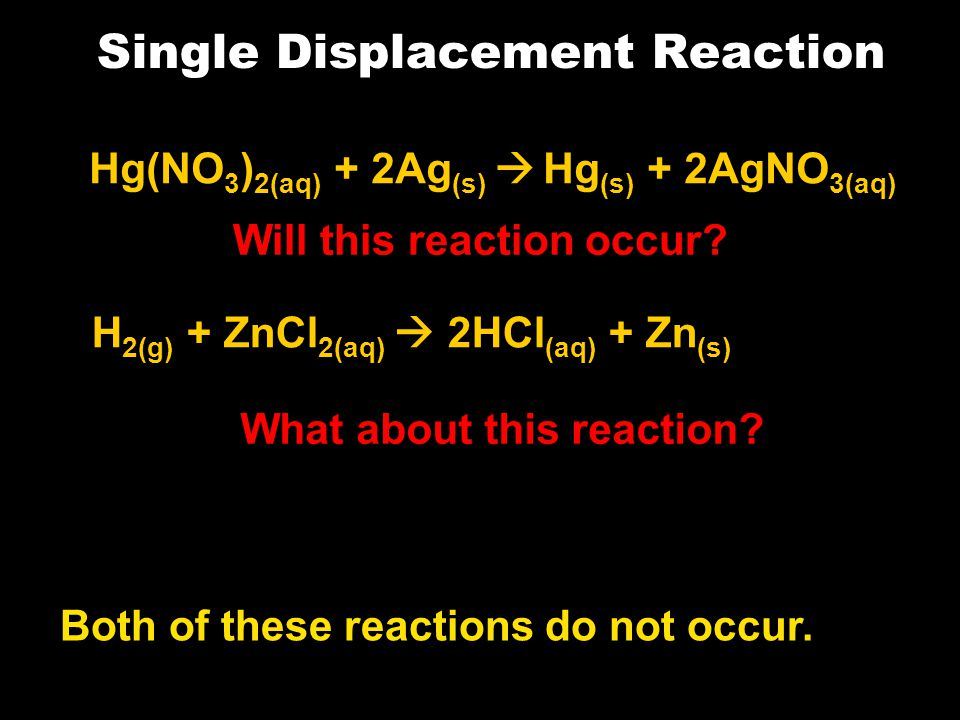 Single Displacement Reaction Hg(NO 3 ) 2(aq) + 2Ag (s)  Hg (s) + 2AgNO 3(aq) Will this reaction occur.
