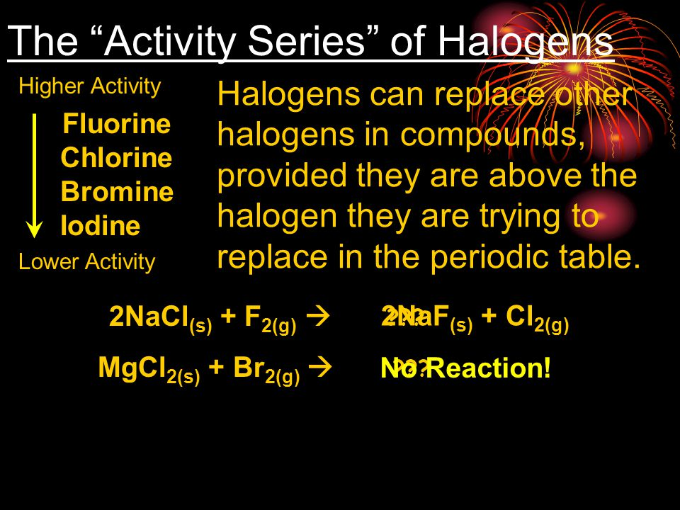 """The """"Activity Series"""" of Halogens Fluorine Chlorine Bromine Iodine Halogens can replace other halogens in compounds, provided they are above the halog"""