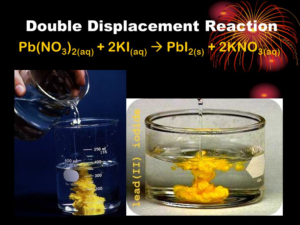 Double Displacement Reaction Pb(NO 3 ) 2(aq) + 2KI (aq)  PbI 2(s) + 2KNO 3(aq)