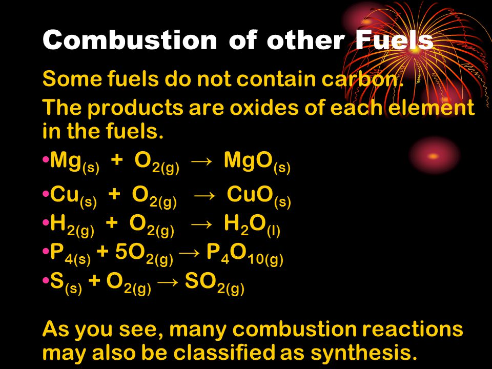 Combustion of other Fuels Some fuels do not contain carbon.