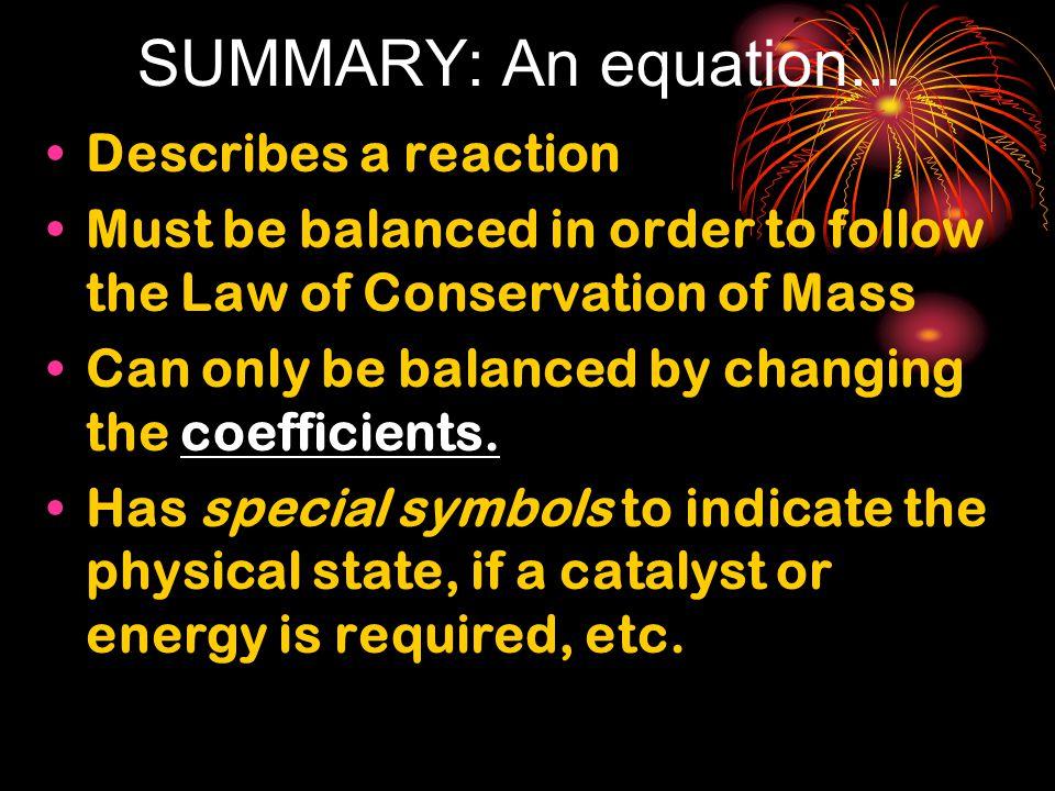 SUMMARY: An equation...