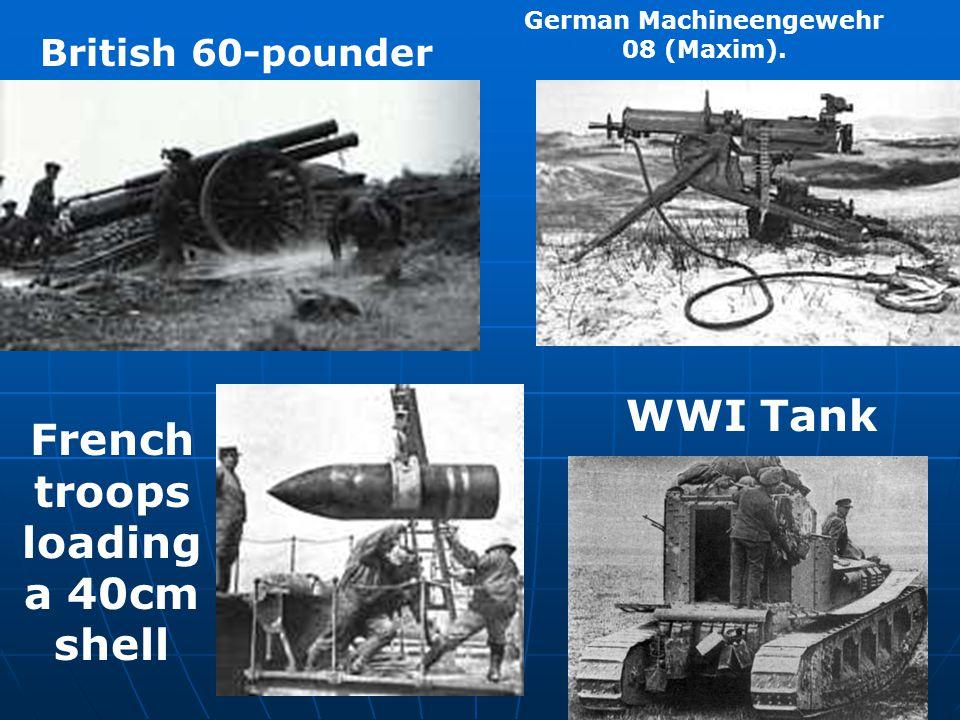 British 60-pounder German Machineengewehr 08 (Maxim). WWI Tank French troops loading a 40cm shell