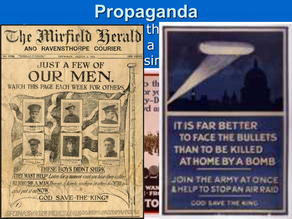 Propaganda Governments used the press to spread ideas to promote a cause or damage an opposing cause