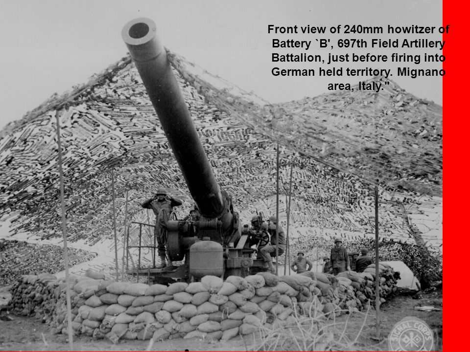 Front view of 240mm howitzer of Battery `B , 697th Field Artillery Battalion, just before firing into German held territory.