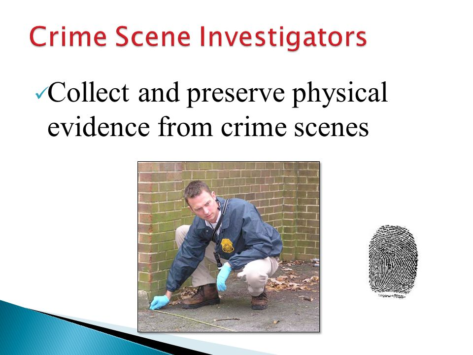 Collect and preserve physical evidence from crime scenes