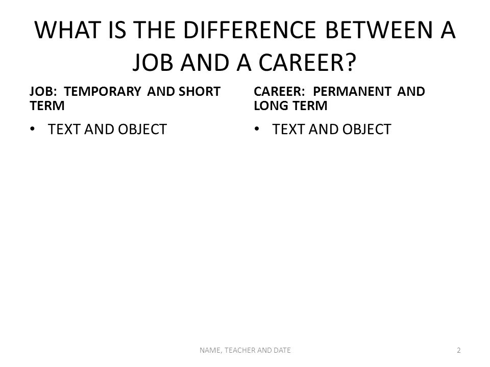 WHAT IS THE DIFFERENCE BETWEEN A JOB AND A CAREER? JOB: TEMPORARY AND SHORT TERM TEXT AND OBJECT CAREER: PERMANENT AND LONG TERM TEXT AND OBJECT NAME,