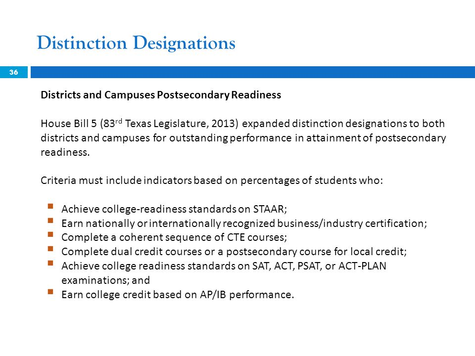 36 Districts and Campuses Postsecondary Readiness House Bill 5 (83 rd Texas Legislature, 2013) expanded distinction designations to both districts and