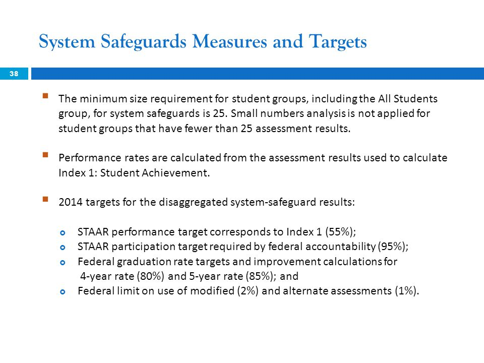 System Safeguards Measures and Targets 38  The minimum size requirement for student groups, including the All Students group, for system safeguards i