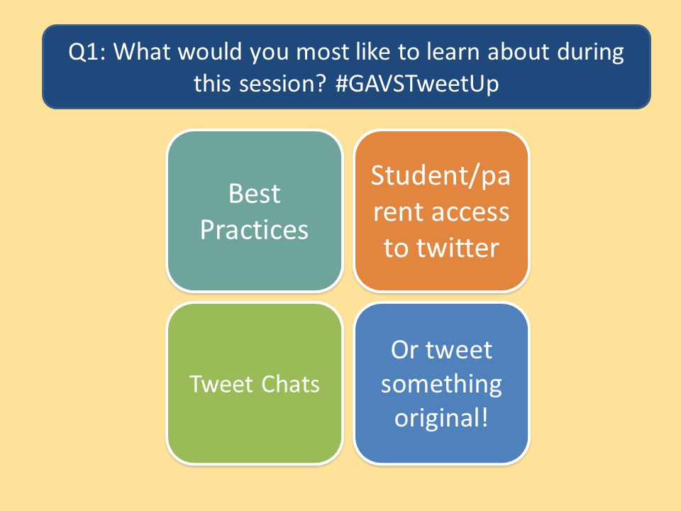 Q1: What would you most like to learn about during this session? #GAVSTweetUp Best Practices Student/pa rent access to twitter Or tweet something orig