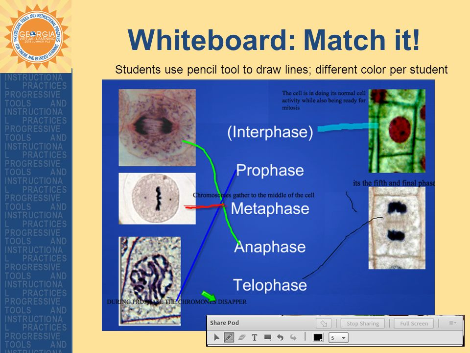Whiteboard: Match it! Students use pencil tool to draw lines; different color per student