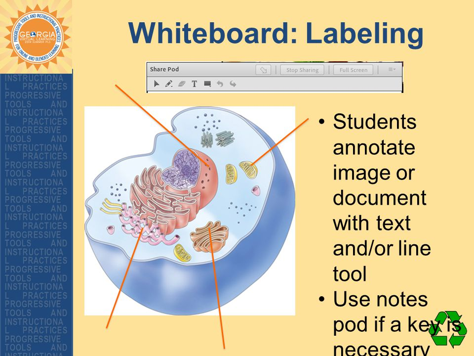 Whiteboard: Labeling Students annotate image or document with text and/or line tool Use notes pod if a key is necessary