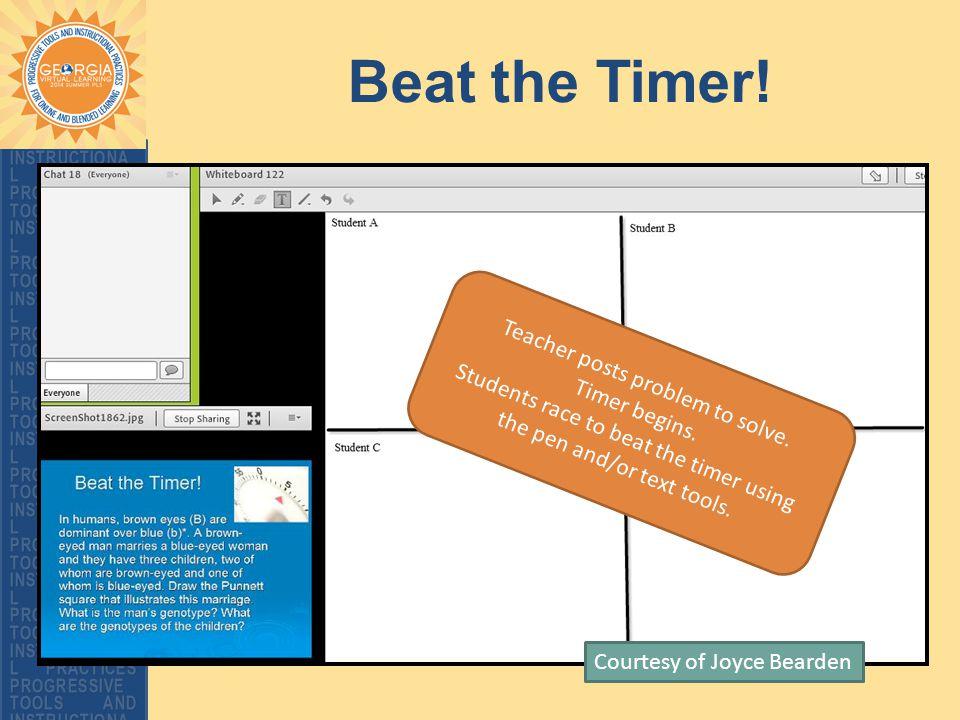 Beat the Timer. Courtesy of Joyce Bearden Teacher posts problem to solve.