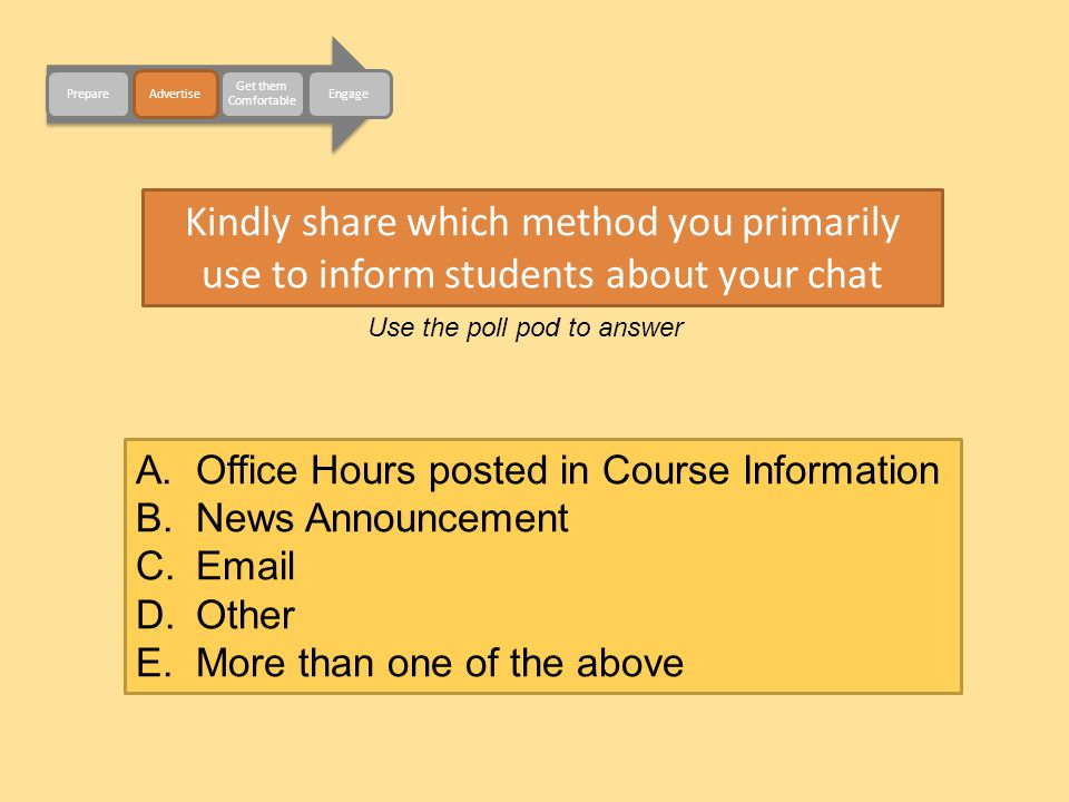 Kindly share which method you primarily use to inform students about your chat Use the poll pod to answer A.