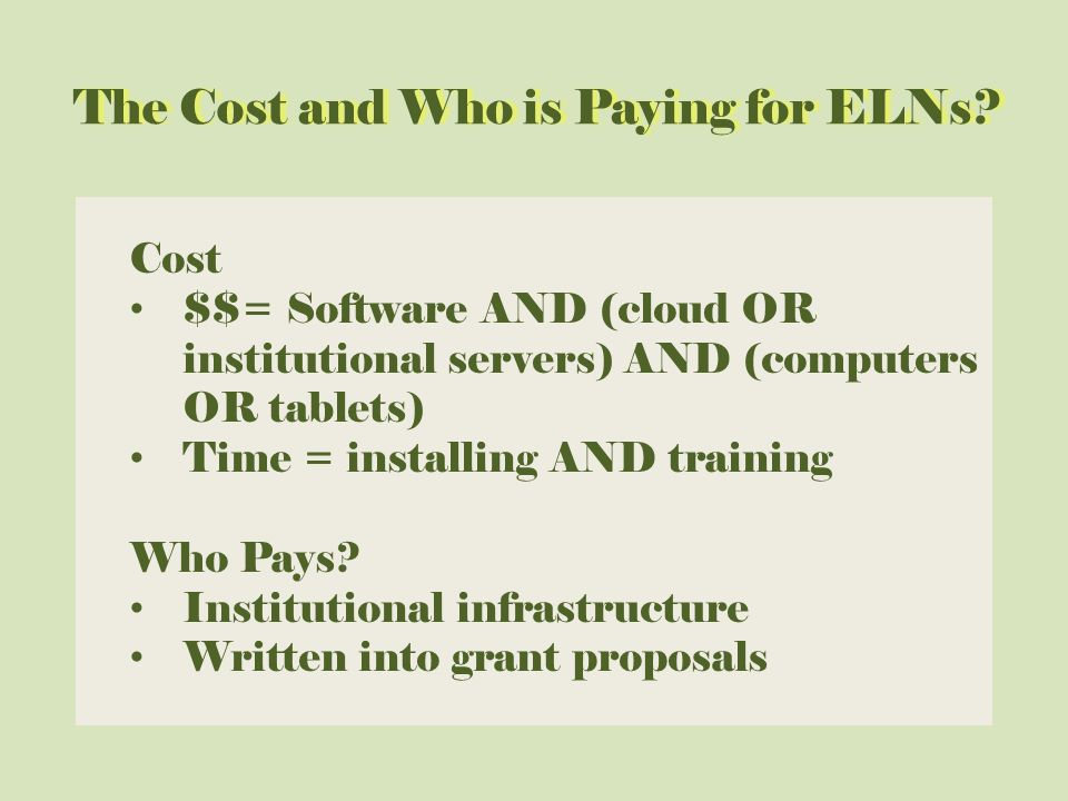 The Cost and Who is Paying for ELNs The Cost and Who is Paying for ELNs.