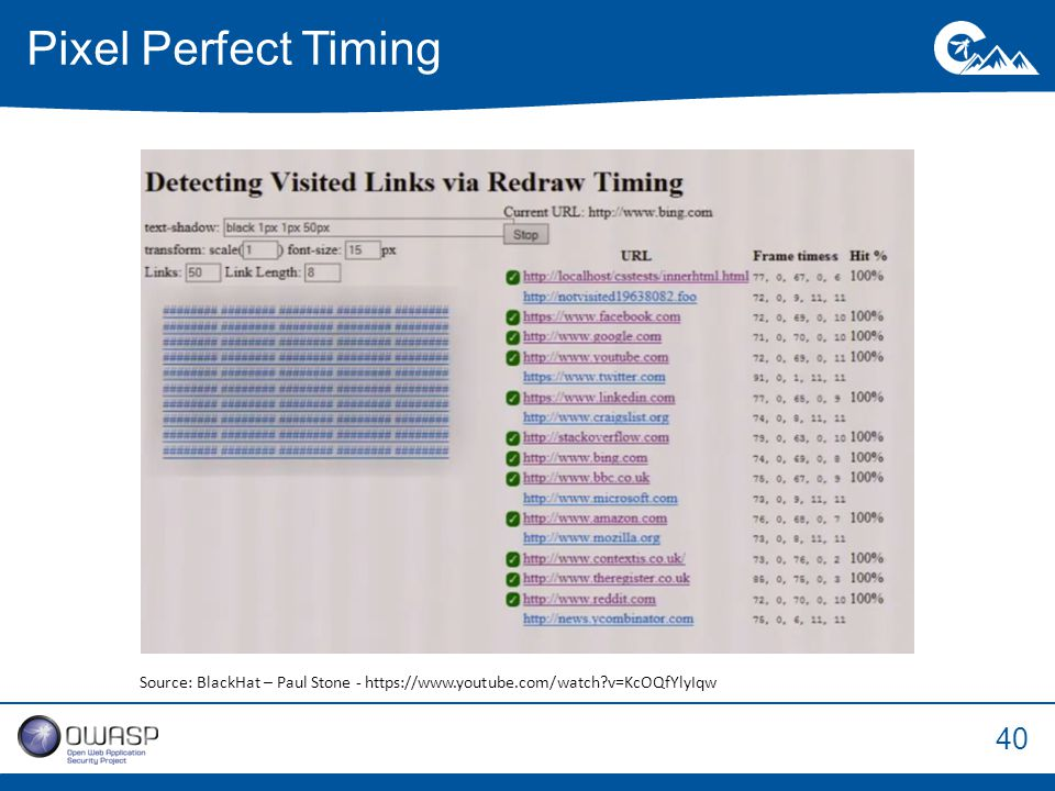 40 Pixel Perfect Timing Source: BlackHat – Paul Stone - https://www.youtube.com/watch?v=KcOQfYlyIqw