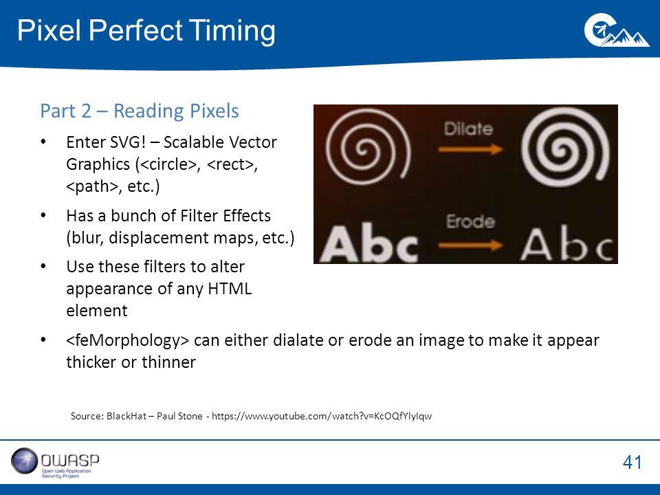 41 Part 2 – Reading Pixels Enter SVG.