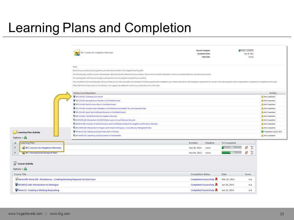 www.hoganlovells.com | www.blg.com Learning Plans and Completion 23