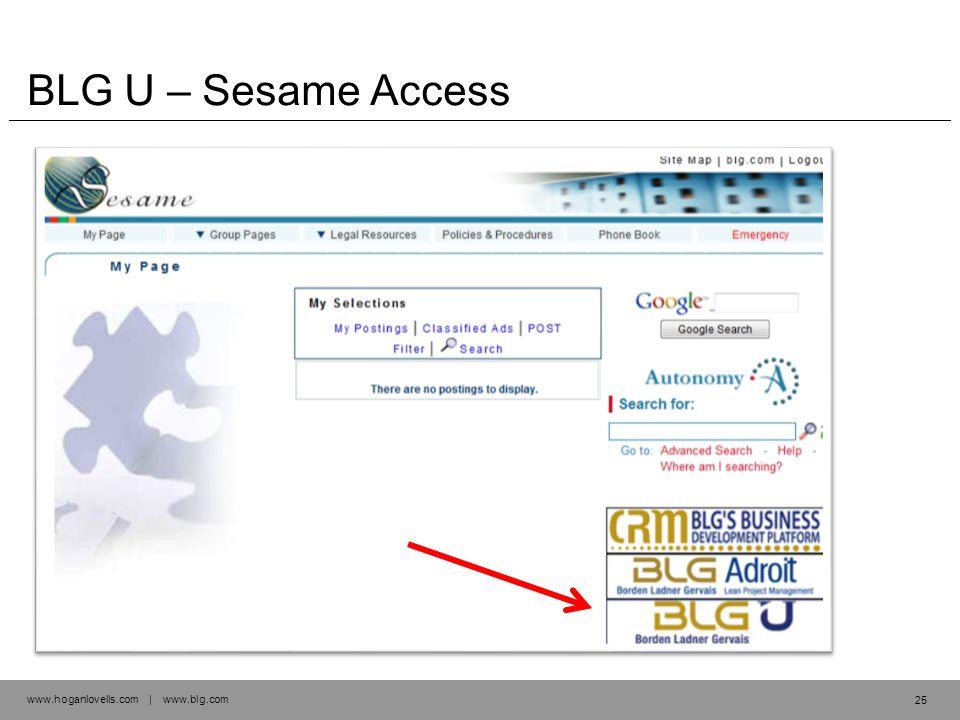 www.hoganlovells.com | www.blg.com BLG U – Sesame Access 25