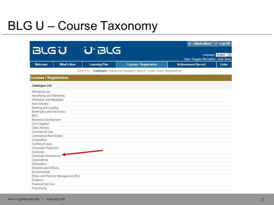 www.hoganlovells.com | www.blg.com BLG U – Course Taxonomy 27