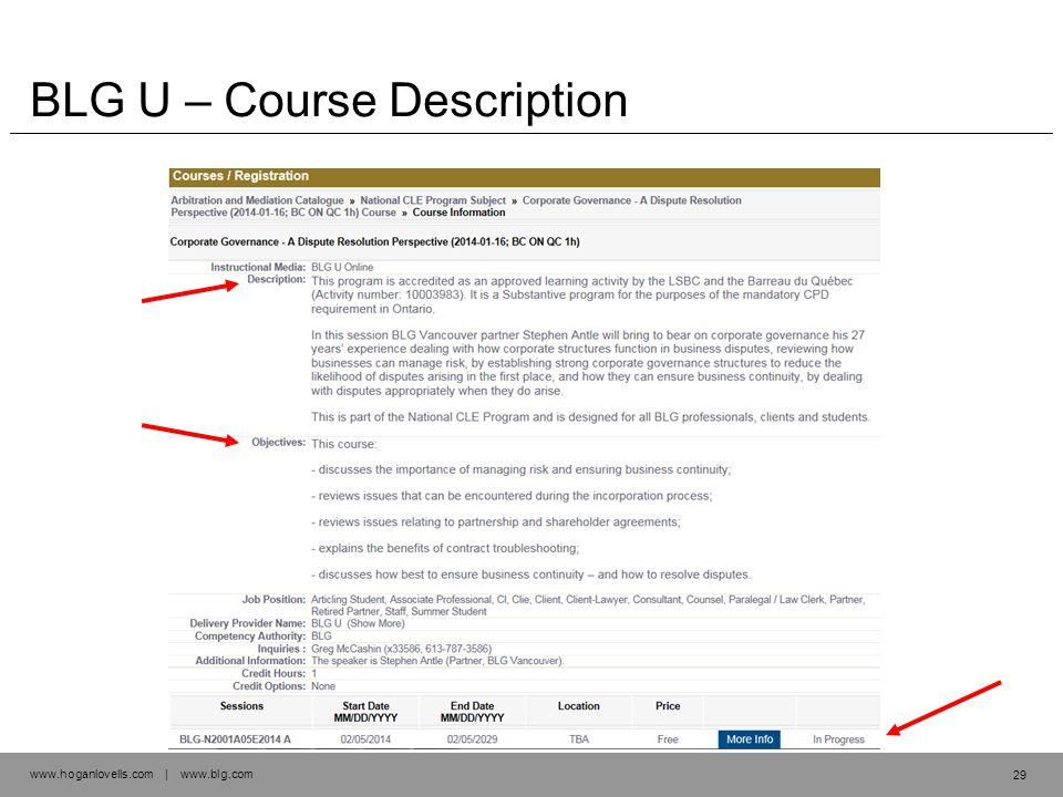 www.hoganlovells.com | www.blg.com BLG U – Course Description 29