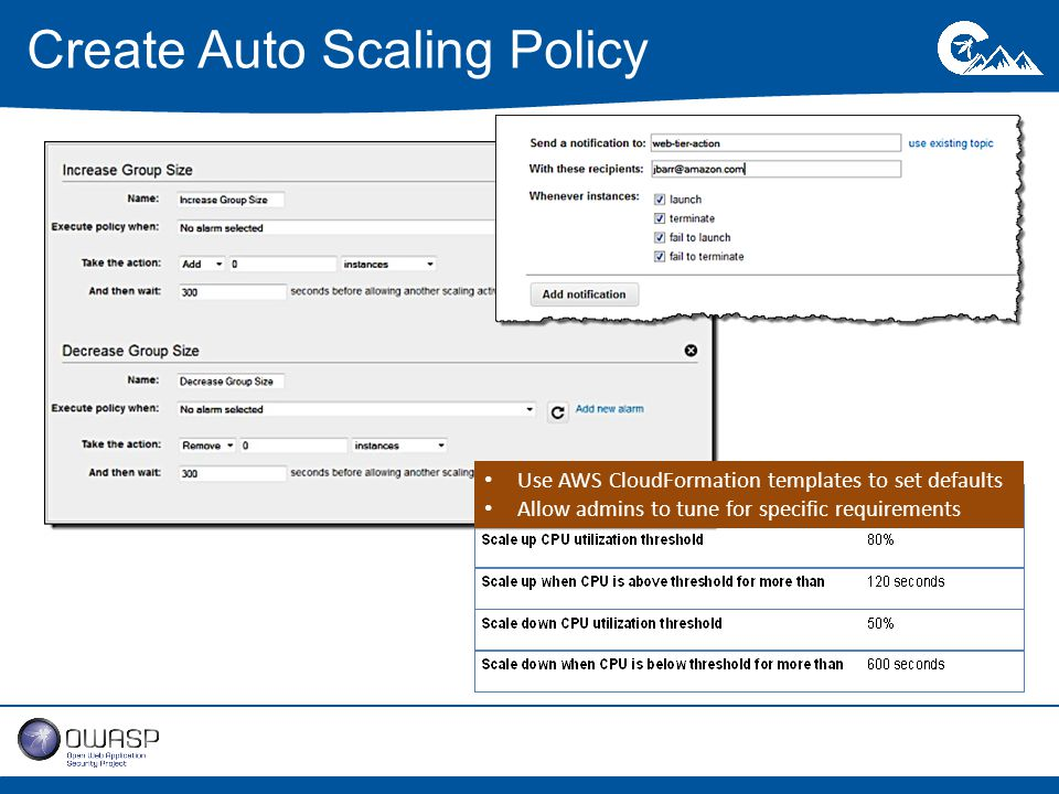 Create Auto Scaling Policy Use AWS CloudFormation templates to set defaults Allow admins to tune for specific requirements