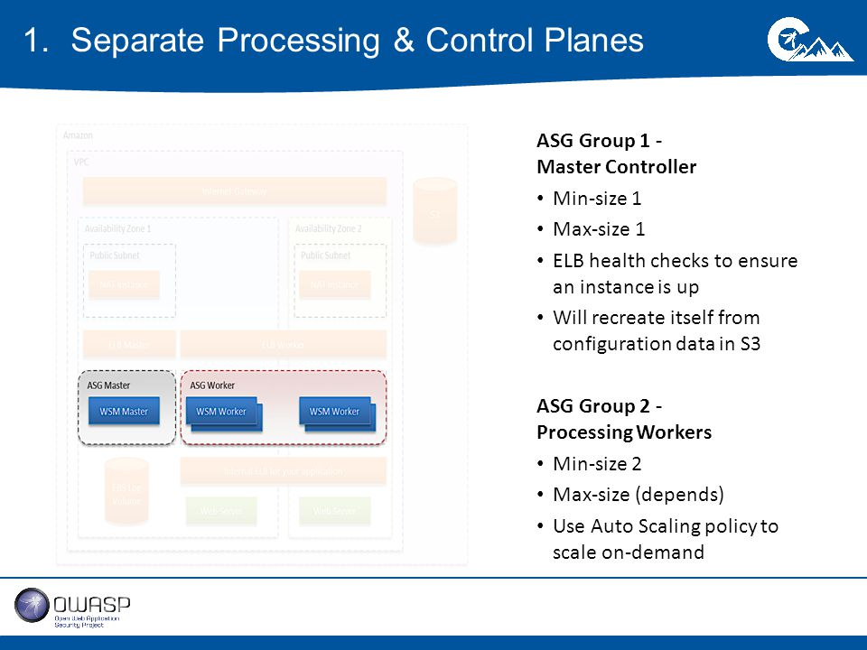 ASG Group 1 - Master Controller Min-size 1 Max-size 1 ELB health checks to ensure an instance is up Will recreate itself from configuration data in S3 ASG Group 2 - Processing Workers Min-size 2 Max-size (depends) Use Auto Scaling policy to scale on-demand 1.Separate Processing & Control Planes