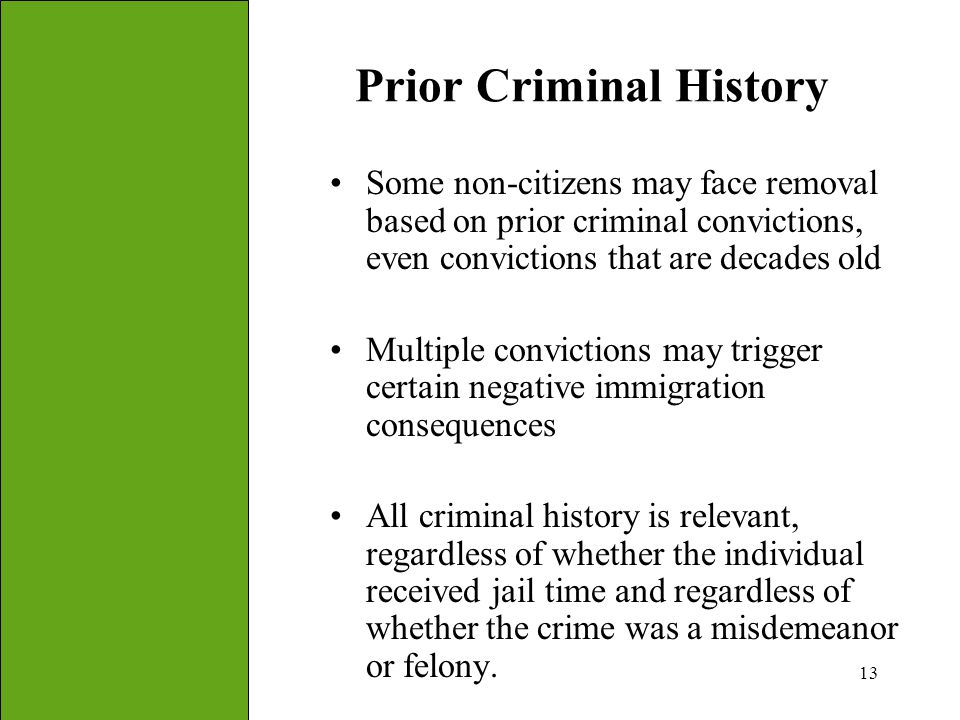 13 Prior Criminal History Some non-citizens may face removal based on prior criminal convictions, even convictions that are decades old Multiple convi