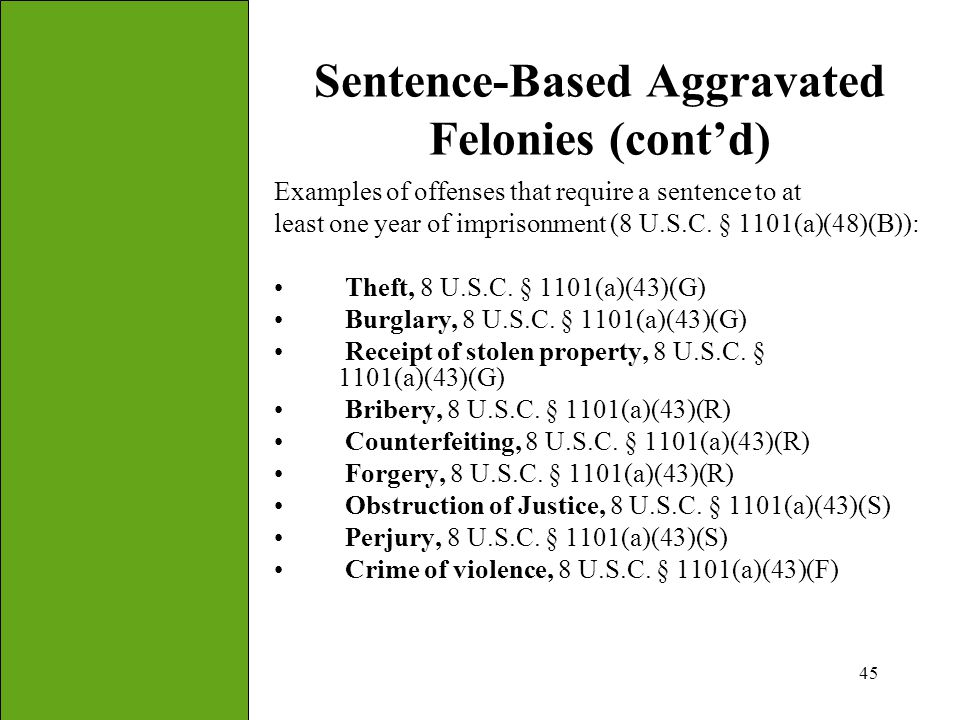 45 Sentence-Based Aggravated Felonies (cont'd) Examples of offenses that require a sentence to at least one year of imprisonment (8 U.S.C. § 1101(a)(4