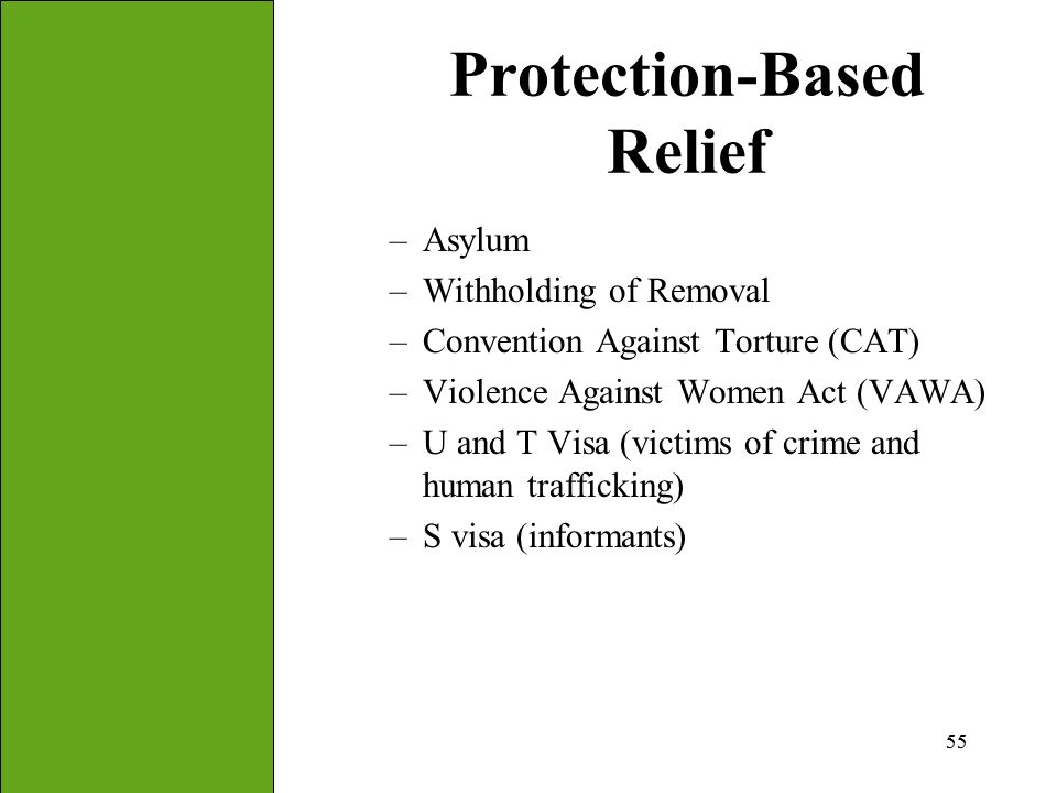 55 Protection-Based Relief –Asylum –Withholding of Removal –Convention Against Torture (CAT) –Violence Against Women Act (VAWA) –U and T Visa (victims
