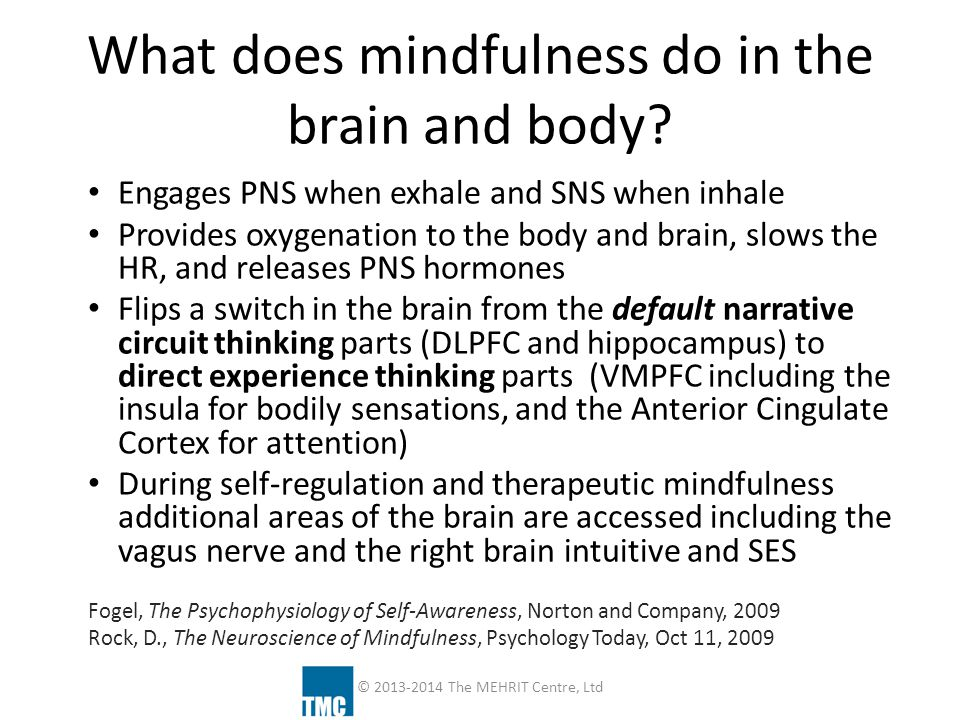 What does mindfulness do in the brain and body? Engages PNS when exhale and SNS when inhale Provides oxygenation to the body and brain, slows the HR,