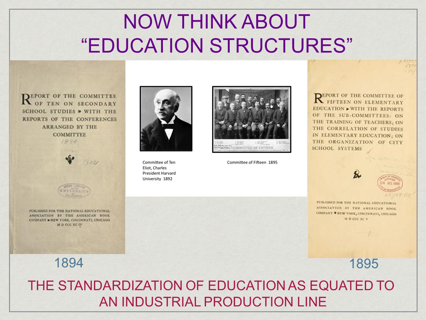 NOW THINK ABOUT EDUCATION STRUCTURES 1894 1895 THE STANDARDIZATION OF EDUCATION AS EQUATED TO AN INDUSTRIAL PRODUCTION LINE