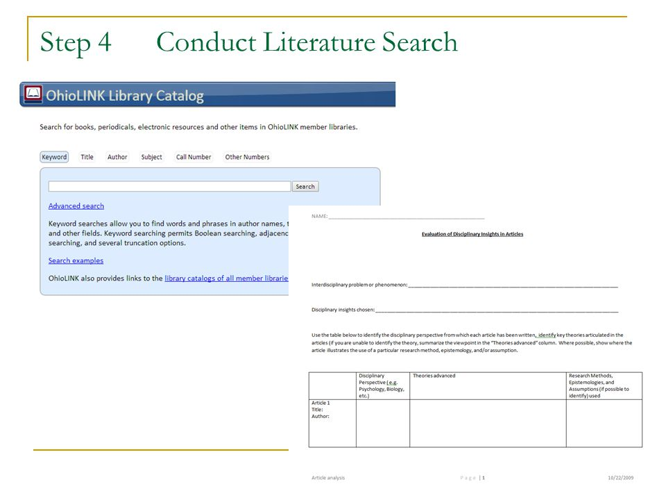 Step 4 Conduct Literature Search