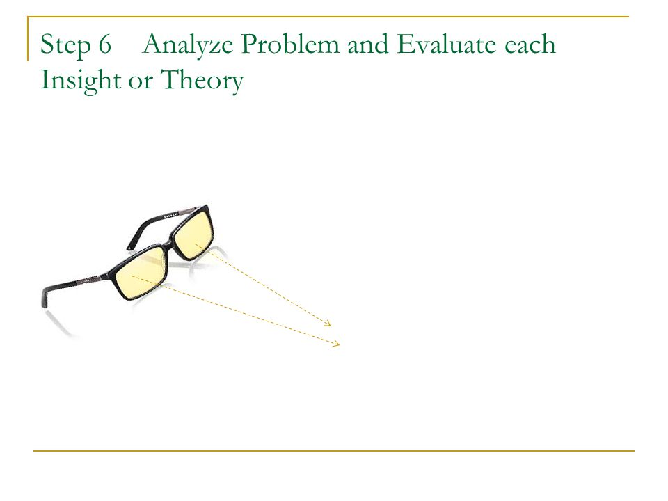 Step 6 Analyze Problem and Evaluate each Insight or Theory