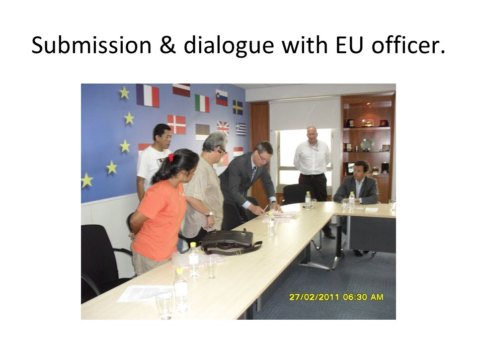 Submission & dialogue with EU officer.