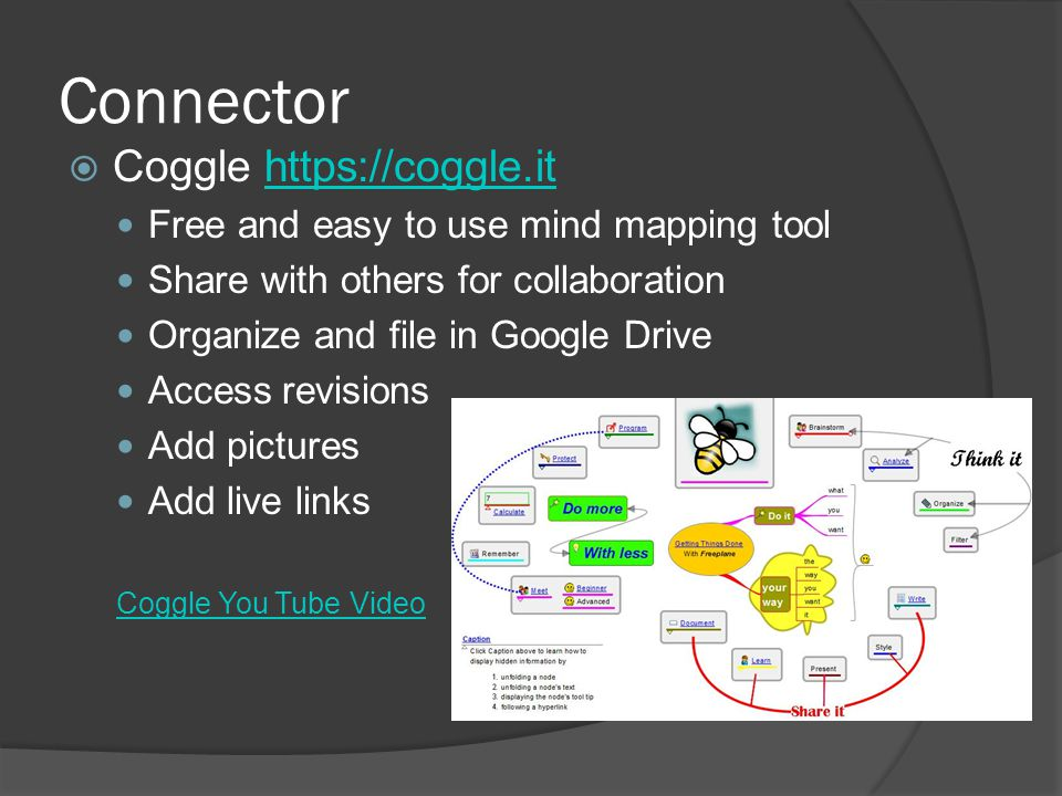 Connector  Coggle https://coggle.ithttps://coggle.it Free and easy to use mind mapping tool Share with others for collaboration Organize and file in