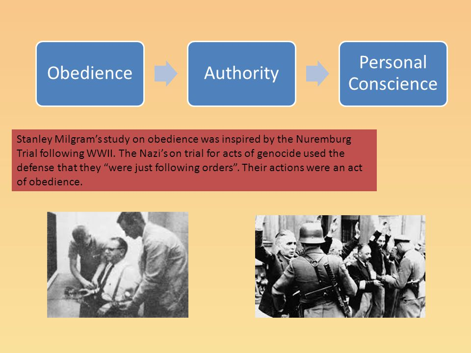 ObedienceAuthority Personal Conscience Stanley Milgram's study on obedience was inspired by the Nuremburg Trial following WWII. The Nazi's on trial fo