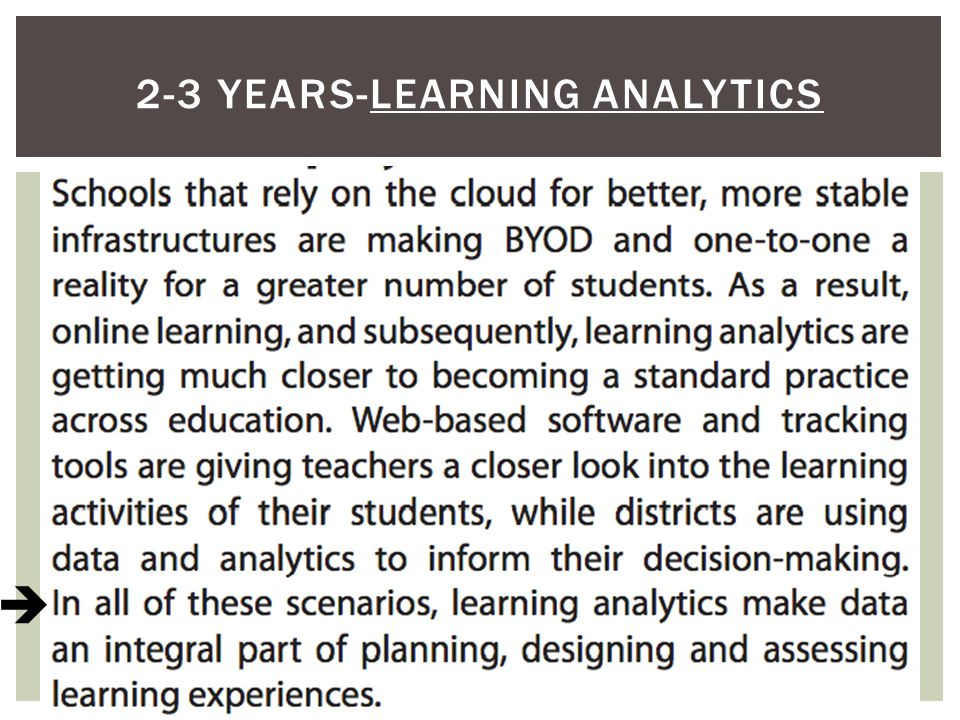 2-3 YEARS-LEARNING ANALYTICS 